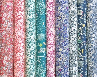 Liberty Fabric Tana Lawn Contemporary Classics 9 Scraps Selection 483 Floral Blue Green Red