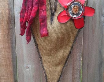 Natural Burlap heart door hanger