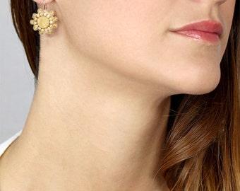 Citrine Earrings, Dangle Hook Earrings, Citrine Star Flower Earrings,  Bezel earrings, Gift for her, Bridal Earrings, Women's Gift