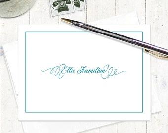 personalized stationery set - PERFECTLY ELEGANT - set of 8 folded note cards - fancy stationary