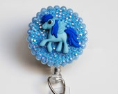Blue Pegasus Pony ID Badge Reel - Retractable ID Badge Holder - Zipperedheart
