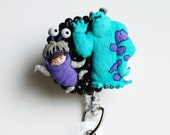 Disney's Monster's Inc. Sully and Boo ID Badge Reel - Retractable ID Badge Holder - Zipperedheart