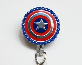 Captain America's Shield ID Badge Reel - Retractable ID Badge Holder - Zipperedheart