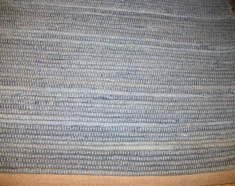 Upcycled Blue Jean Rug Runner 38 inches by 24 inches Rag Rug No Fringe Recycled Light Blue Blue Jean Rug