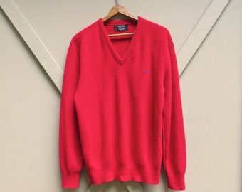 80s vintage Christian Dior Vibrant Red Acrylic Knit V-Neck Sweater / Christian Dior Monsieur