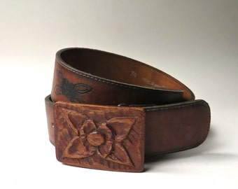 Hickok vintage Hand Made Latigo Brown Leather Belt with Floral Carved Wooden Buckle  /  Made in Haiti / Hickok Belt Makers