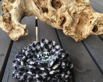 Handcut Felted Wool Flower Brooch Pin - Black White Houndstooth