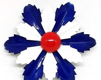 50% OFF Red White Blue Enamel Flower Power Vintage Brooch