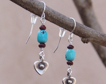 Sterling Silver Hearts and Turquoise Wire Earrings