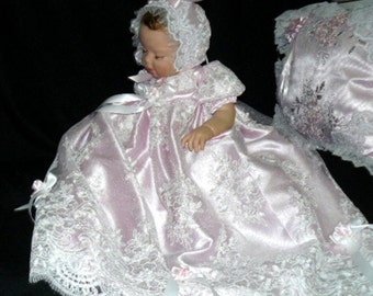 GOWN REBORN Doll or BABY e Embroidered Tulle Lace Pink Satin   size 0-3 month