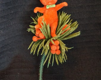 Vintage  Flocked Red Mouse with Pine and Berries Pick