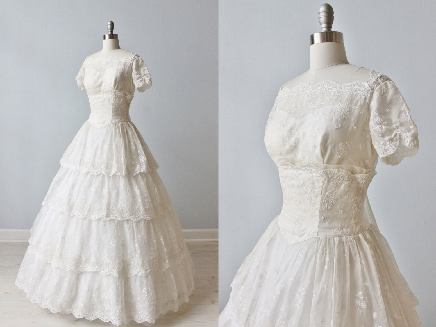 Vintage 1950s Wedding Dress 1950s Embro red Wedding Gown