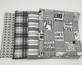 FALL SALE - Varsity - Fat Quarter Bundle (4) in Gray - Sweetwater for Moda Fabric
