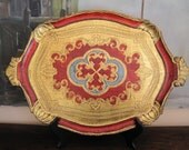 Large Florentine Florentia Wooden Tray Gold Red and Aqua Made in Italy Handled Tray
