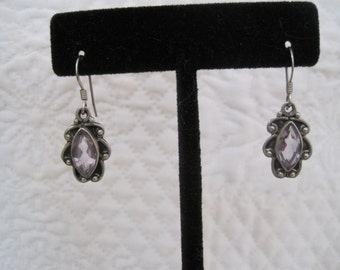 Vintage Amethyst annd Sterling Silver Drop Dangle Earrings 925