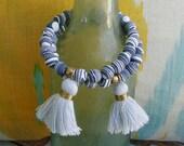 ZEBRA STONE with TASSEL Bracelet, boho, tribal