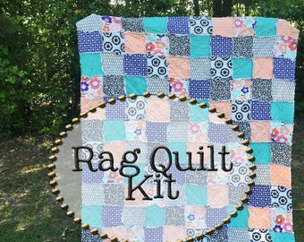 Rag Quilt Kit, multiple sizes available, Smile and Wink fabrics