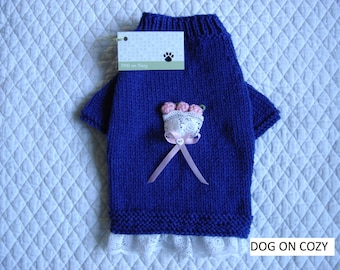 Appliqued Dog Sweater, Handknit Pet Sweater, Size SMALL, Lace Ruffle Bouquet Blue