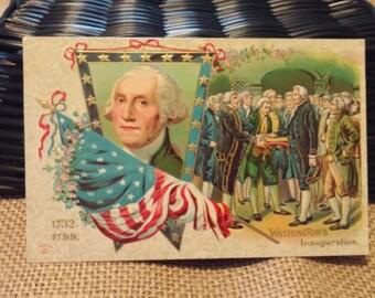 "Antique postcard ""Washington's inauguration"""
