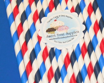 NEW - Patriotic Striped Straw Collection  (Qty 24)  Straws, Striped Straws, Vintage Straws, Retro Paper Straws, Paper Straws