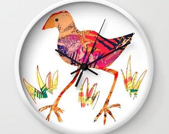 NZ pukeko bird clock, bird wall clock, childrens bird clock, kids wall clock, pink white bird clock, fun bird art, New zealand pukeko
