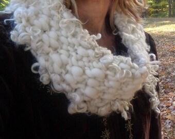 hand knit cowl chunky natural fiber warm handspun wool art yarn cowl scarf - warm