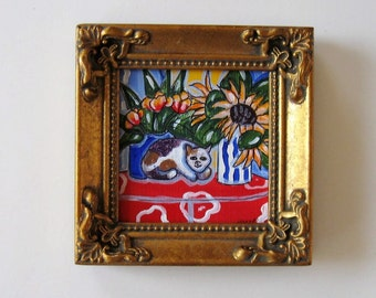 Miniature Calico Cat painting, Original acrylic canvas, Sunflowers still life, gold frame, French Country Decor, gift idea