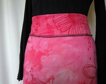 Pink Birds and Flowers Cotton Knit Skirt
