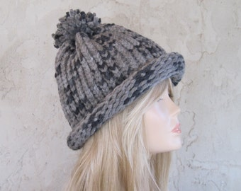 Adult Hand Knit Hat  Gray on Gray Ready to Ship