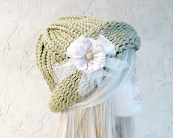Sage Green Cloche Adult Hand Knit Hat with Removable Flower Ready to Ship