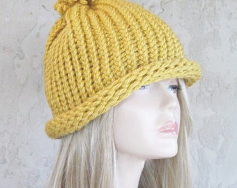 Adult Hand Knit Hat  Golden Mustard Color Ready to Ship
