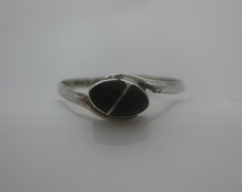 Size 6 1/4 Vintage Mexico Sterling Silver Onyx Ring Band