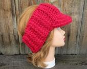 Cherry Red Sun Visor - Women's Visor Head Wrap - Brimmed Ear Warmer - Crochet Sun Visor - Brim Headband - Crochet Accessories
