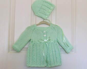 Knitted Mint Green Baby Cardigan/Sweater with Ribbon