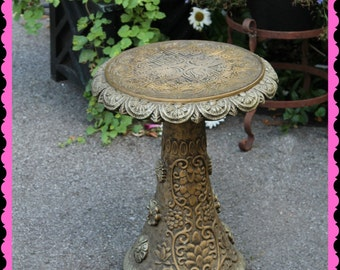 ornate vintage chalk ware pedestal for statues     plant stand   Shabby French Garden