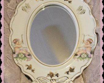 Vintage easel mirror adorable cherubs *   Hang or sit* So sweet!