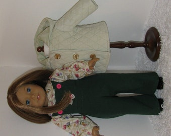 Green and Pink Jacket and Overalls Set, Fits 18 Inch American Girl Dolls