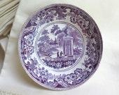 Antique Purple Transferware Bowl/Saucer by Davenport with Stapled Repair Requiem Scene