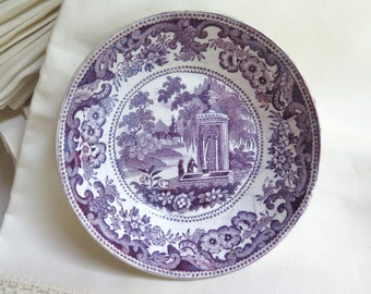 Antique Purple Transferware Bowl/Saucer by Davenport with Stapled Repair Requiem Scene