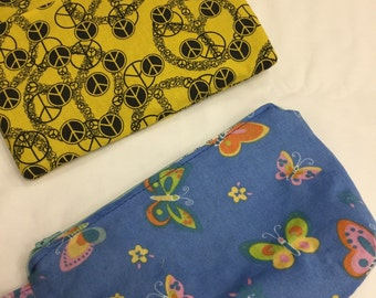 Cotton Cosmetic Bag W/pockets