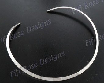 "18"" 4mm 925 Sterling Silver Flat Collar Torque Choker Necklace"
