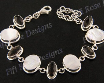 10ct smokey quartz mother of pearl shell 925 silver bracelet