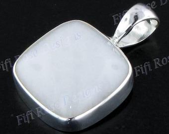 "1 3/16"" Milky Jade 925 Sterling Silver Pendant"