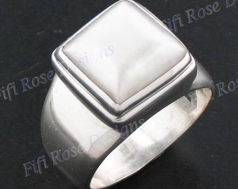 Stunning White Mabe 925 Sterling Silver Sz 7 Ring
