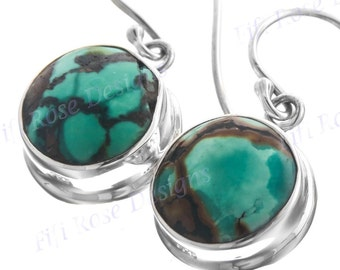 """1/2"""" Round Turquoise 925 Sterling Silver Earrings"""