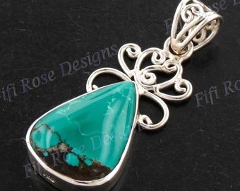 """1 3/8"""" Design Turquoise 925 Sterling Silver Pendant"""