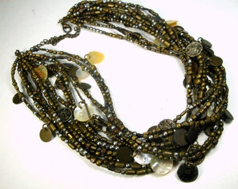 TRIBAL Brass Bronze 13 Strand Beads n Charms Necklace, Adjustable Length, All Metal with Shell n Faux Coin Charms
