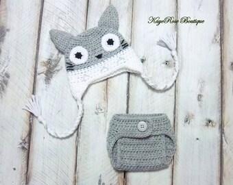 Newborn Baby Totoro Inspired Crochet Hat and Diaper Cover Set Gray and White
