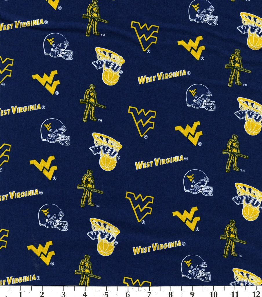 west virginia university ncaa cotton fabric sold by the yard. Black Bedroom Furniture Sets. Home Design Ideas