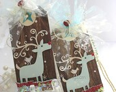 Whimsical Rudolph Reindeer Holiday Gift Tags~Christmas gift tag~deer~red~turquoise blue~white~snowflakes